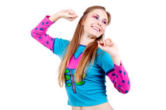 Dancing funny girl Stock Photos