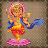 Dancing Ganesha on ornamented background. Vector Ganesha on ornamented background Royalty Free Illustration