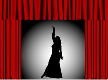 Dancing girl. Silhouette of dancing girl in theater stock illustration