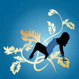 Dancing girl. Blue abstract background with dancing girl vector illustration