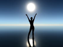 Dancing girl. In the moonrise full of delight and joy. Symbol of success Stock Photos