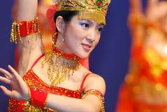 Dancing GIrl. Attractive Chinse folk Dancing Girl Royalty Free Stock Image