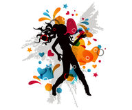 Dancing girl. Stylish multicolored background with dancing girl silhouette Stock Image