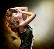 Dancing Girl. Beautiful Fashion Dancing Girl. Disco Stock Photo