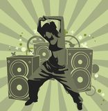 The dancing girl. On the paty. Vector Illustrate 8 EPS Royalty Free Stock Photo