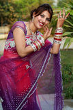 Dancing girl. Indian newly wedded girl dancing outdoor stock photo