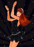 Dancing girl. Sexy dancing girl in black dress Royalty Free Stock Images