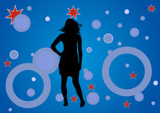 Dancing girl. Illustration of a dancing girl in a party background vector illustration