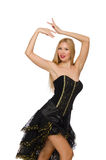 Dancing girl in black evening dress isolated on Stock Photo