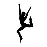 Dancing girl black silhouette Royalty Free Stock Photo