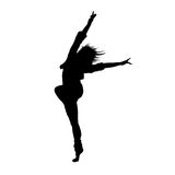 Dancing girl black silhouette Stock Image