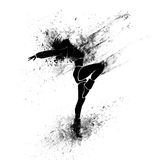 Dancing girl black splash paint silhouette Royalty Free Stock Photo