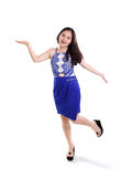 Dancing girl in blue fashion Stock Photos