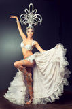 Dancing girl in the carnival costume. Royalty Free Stock Photo