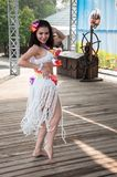 Dancing girl. The city of Orenburg, Orenburg oblast, Russia, August 11, 2013. Girl dancing at a Festival of twins in the City Park of poplar. http://park-topolya Stock Photography