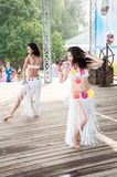 Dancing girl. The city of Orenburg, Orenburg oblast, Russia, August 11, 2013. Girl dancing at a Festival of twins in the City Park of poplar. http://park-topolya Royalty Free Stock Images
