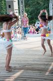 Dancing girl. The city of Orenburg, Orenburg oblast, Russia, August 11, 2013. Girl dancing at a Festival of twins in the City Park of poplar. http://park-topolya Stock Image