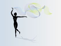 Dancing girl with cloak Stock Image