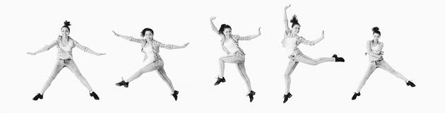Dancing girl collage Stock Photo