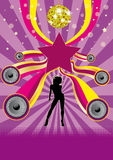 Dancing Girl Disco Party Flyer Stock Photos