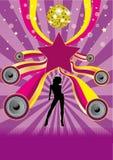 Dancing Girl Disco Party Flyer stock photos