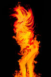Dancing girl in the fire. Flame lady burining in the club Royalty Free Stock Image