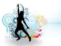Dancing girl with floral ornaments  Royalty Free Stock Photo