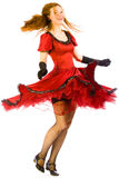 Dancing girl go round. On white background Stock Photos