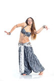 Dancing girl. In a gray traditional dress,  image Stock Photos