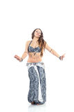 Dancing girl. In a gray traditional dress, isolated image Royalty Free Stock Photos