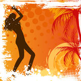 Dancing girl on grunge background Stock Images