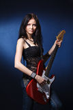 Dancing girl with a guitar Royalty Free Stock Photos