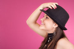 Dancing girl with hat Royalty Free Stock Image