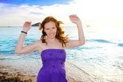 Dancing girl at Ibiza sunset in Cala Conta Stock Photo