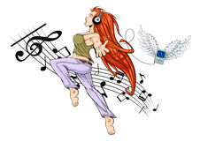 Dancing girl. Illustration of girl jumping while listening to music with headphones. Her MP3 player is flying (it has wings). The girl is barefoot. White Royalty Free Stock Photography