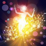 Dancing girl. Illustration of young girl dancing in a night club against discotheque lights Royalty Free Stock Photo