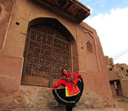 The dancing girl, Iran. Girl in a traditional bright dress, Iran Royalty Free Stock Photography