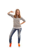 Dancing girl. Isolated on a white background Royalty Free Stock Image