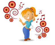Dancing girl listen music in headphone Stock Photo