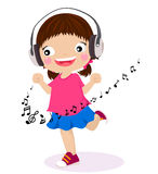 Dancing girl listen music in headphones. Illustration of dancing girl listen music in headphones Royalty Free Stock Photography