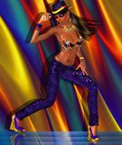 Dancing girl on multicolor background. Disco club, dancing girl on multicolored abstract background. Her bikini top and necklace match the background, while the Royalty Free Stock Photo