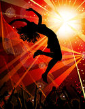 Dancing girl in the nightclub. Vector festive party in the nightclub Stock Image