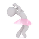 Dancing girl in pink skirt. Faceless cartoon character girl wearing pink tutu skirt doing a lively dance, 3D render isolated on white Stock Photos