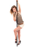 Dancing girl of pole Royalty Free Stock Images