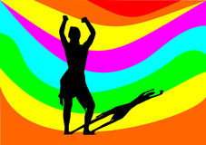 Dancing girl with rainbow Royalty Free Stock Images