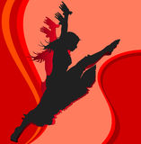 Dancing girl in red. Dancing girl, silhouette girl on red background, vector illustration Stock Photos