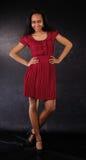 Dancing girl red dress royalty free stock image