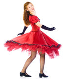 Dancing girl in red dress. Dancing girl go round on white background Royalty Free Stock Images