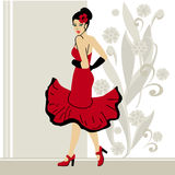 Dancing girl in red Stock Photo