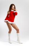 Dancing girl in red on light background royalty free stock images